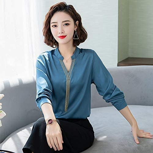 Long-sleeved satin shirt female autumn Hong Kong flavor temperament loose silk blouse wild Western style chiffon shirt v-neck tassel brand:QWERTY (Color : Black1, Size : 2XL)