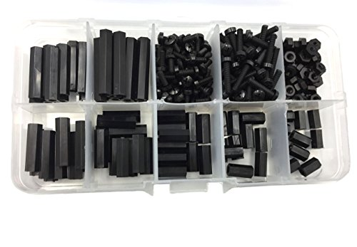HVAZI 280PCS M2.5 Female-Female Nylon Hex Spacers Standoffs Screws Nuts Assorted Kit(Black)