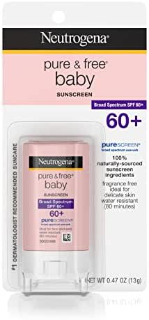 Neutrogena Pure & Free Baby Sunscreen Stick Broad Spectrum Spf 60, 0.47 Oz.