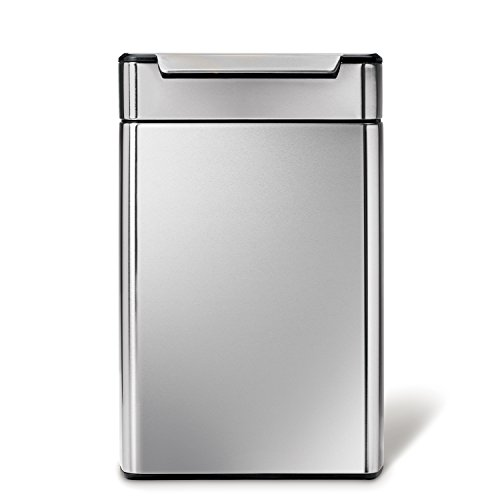 simplehuman 48 Liter / 12.7 Gallon Stainless Steel Touch-Bar Kitchen Dual Compartment Trash Can Recycler, Brushed Stainless Steel, ADA-Compliant (Steel Recycle Stainless)