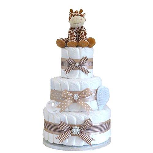 Signature à 3étages Grande Deluxe pour bébé Unisexe Cadeau/couches gâteau/panier de bébé Cadeau de Baby Shower/New arrivée Cadeau/cadeau de naissance/maternité Cadeau/envoi rapide Pitter Patter Baby Gifts