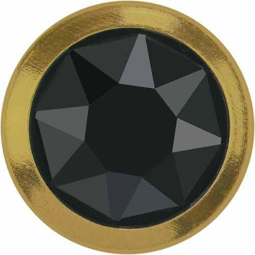 (2078/H Swarovski Flatback Crystals Hotfix Framed SS34 | Jet Hematite - Gold Rim | SS34 (7.2mm) - Pack of 144 (Wholesale) | Small & Wholesale Packs)