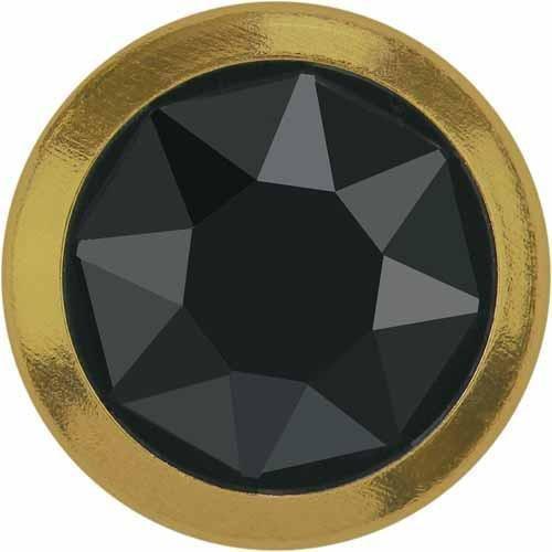 2078/H Swarovski Flatback Crystals Hotfix Framed SS34 | Jet Hematite - Gold Rim | SS34 (7.2mm) - Pack of 144 (Wholesale) | Small & Wholesale Packs