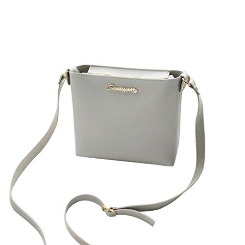 Longra Sacchetto della moneta del sacchetto del telefono del sacchetto del messaggero del sacchetto del messaggero del sacchetto di spalla di cuoio artificiale delle donne di modo Grigio