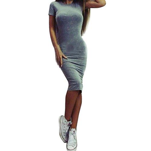iTLOTL Women Fashion Sexy Solid Short Sleeve Slim Dress(L, Gray)