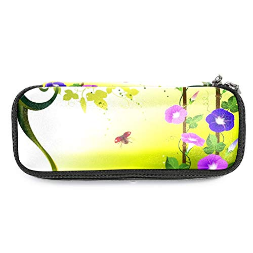 Ladybugs with Morning Glory Makeup Pen Pouch Students Stationery Pen Case for School/Office]()