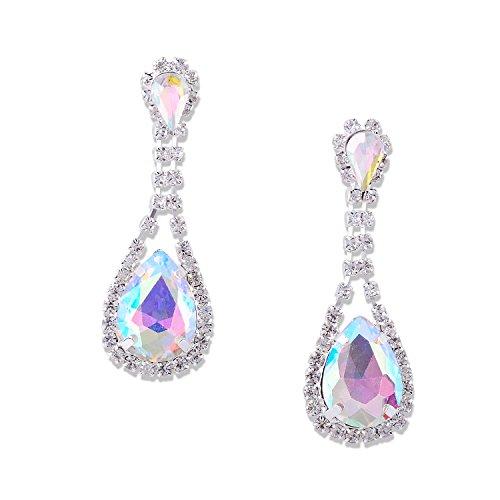- Silver Aurora Borealis Teardrop with Crystal Rhinestone Dangle Earrings