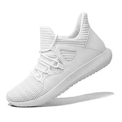 MAIERNISIJESSI Men's Women's Casual Lightweight Trainers Breathable Mesh Sneakers Running Shoes White 37 - Men US5-Women US6.5
