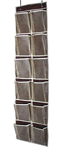MISSLO Heavy Duty Over Door Organizer Hanging Shoe Storage for Narrow Door with 12 Large Mesh Pockets (Coffee)