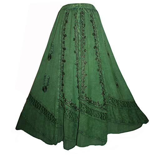 Agan Traders 122 SK Womens Boho Elastic Waistband Gypsy Dancing Vintage Long Embroidered Maxi Skirt