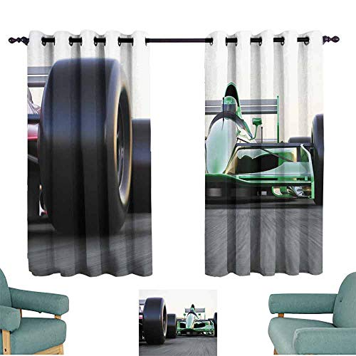 (HCCJLCKS Kids Room Curtains Cars Motorized Sports Theme Indy Cars on Asphalt Road with Motion Blur Formula Race Thermal Insulated Tie Up Curtain W55 xL63 Grey Black Green)