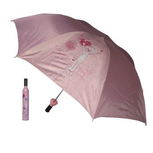 HuntGold botella de vino paraguas, patrón bonito diseños paraguas de la manera(muchacha rosada