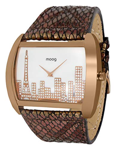 Moog Paris Skyline Women's Watch with White Mother of Pearl Dial, Black & Rose Gold Genuine Leather Strap & Swarovski Elements - M41882-002