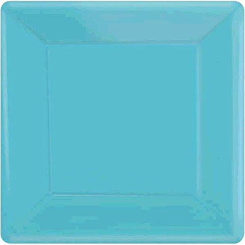 Amscan Caribbean Blue Square Paper Plates, 20 Ct. | Party Tableware