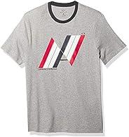 AX Armani Exchange Playera de algodón con Cuello Redondo para Hombre, Ajuste Regular, con Logotipo de Rayas, B
