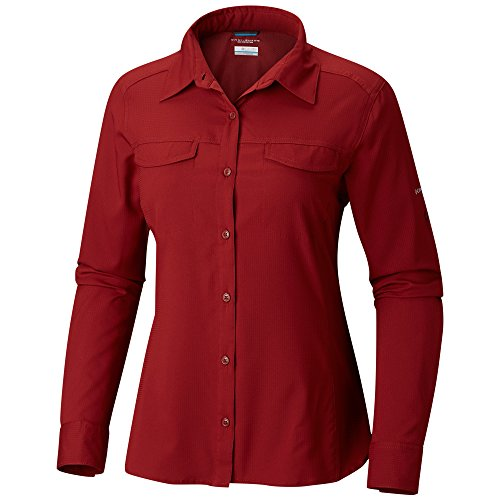 Shirt Womens Garnet (Columbia Silver Ridge Lite Long Sleeve Shirt, Small, Garnet Red)