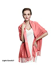 Healtheveryday@ Long Solid Ladies Womens Vintage Cashmere Pashmina Scarf Wrap Shawl 40 Colors, 72'' x 28'' (Light Coral 17)