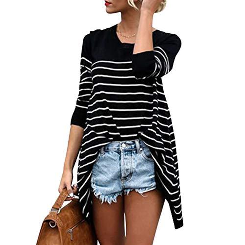 Masterein Les Femmes Fille O-Cou  Rayures Manches Longues T Maillot de-Shirt Tops Automne Printemps noir