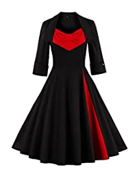 Aecibzo Women Plus Size 50s Style Retro Vintage Cocktail Party Swing Dress