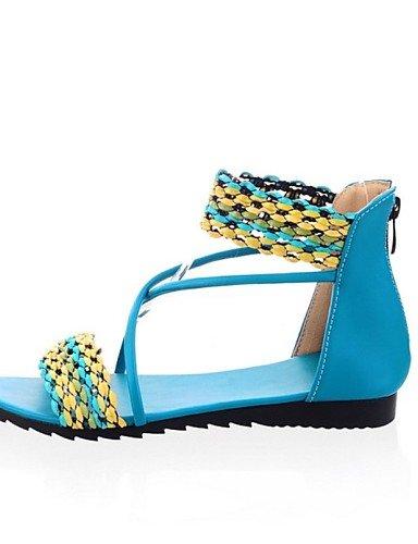 LFNLYX Zapatos de mujer-Tacón Plano-Mary Jane-Sandalias-Exterior / Casual-Semicuero-Azul / Amarillo / Morado / Blanco Blue