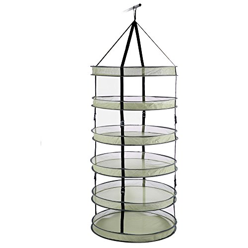 iPower 3 Feet Diameter with 6 Layers Steel Rings Foldable Heavy Duty Hanging Dryer Rack, Collapsible Mesh Hydroponic Drying Rack Net For Sale