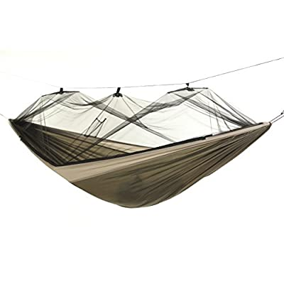 "BYER OF MAINE Moskito Kakoon Mosquito Net Camping Hammock, Full-Sized, Single Person, Lightweight, Easy to Transport, Parachute Nylon, No-See-Um Mosquito Netting, 116""x56"", Holds up to 275lbs: Sports & Outdoors"