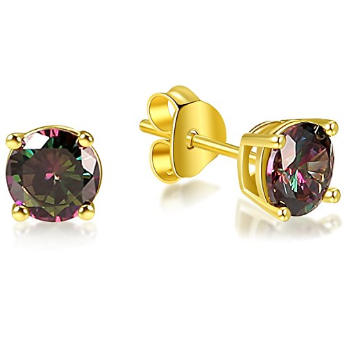 Lanroque 14k Gold Plated Sterling Silver 6mm Round Cut Mystic Topaz Stud Earrings for Men and Women