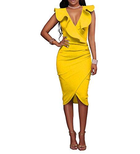 Dress Sexy Yellow (Metisy Ruffle V Neck Summer Dresses Casual Sexy Knee Length Bodycon Elegant Dress Sleeveless Women Vestidos Yellow)