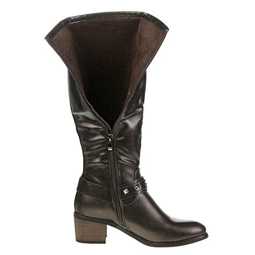 Ital-Design - Botas plisadas Mujer Marrón - bronce