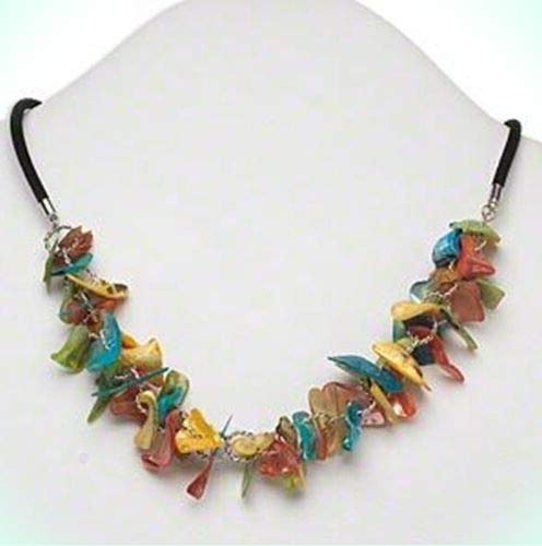 Colorful Freeform Genuine Pearl Shell Chip Cluster 20