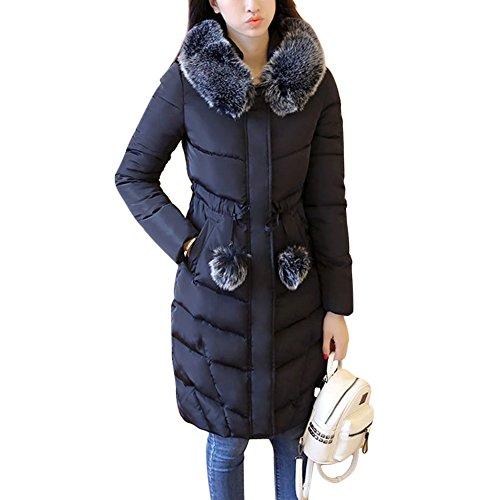 Rela Bota Womens Winter Warm Faux Fur Hooded Thickened Coats Tie Waist Long Down Parka Puffer Jacket Outwear Medium ()
