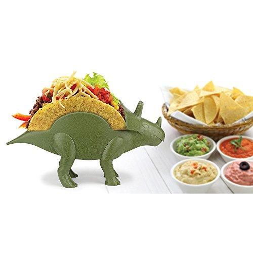 TriceraTACO Taco Holder, Set of 1 - Dinosaur Novelty Taco Stand Party Plate Serveware - Holds 2 Tacos!