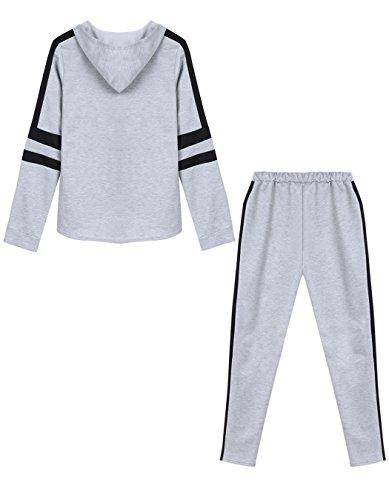 cooshional Ropa deportiva mujer conjuntos casuales de Top y pantalones Gris