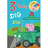 Peppa Pig George Age 3 Birthday Card with Badge