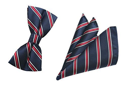 Men Boys Navy Red Classic Bow Ties Set Luxury Dances Engagement Preppy Neckties