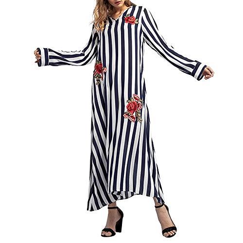 HITRAS Dress!Women Fashion Elegant Stripe Long Sleeve Maxi Robe Dresses -