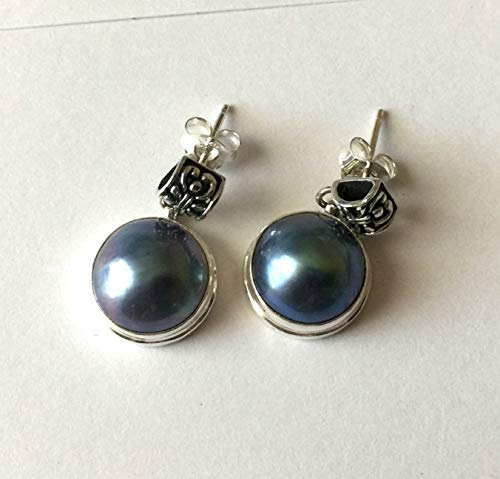 peacock blue Mabe pearl earring post AE55 for sale  Delivered anywhere in USA