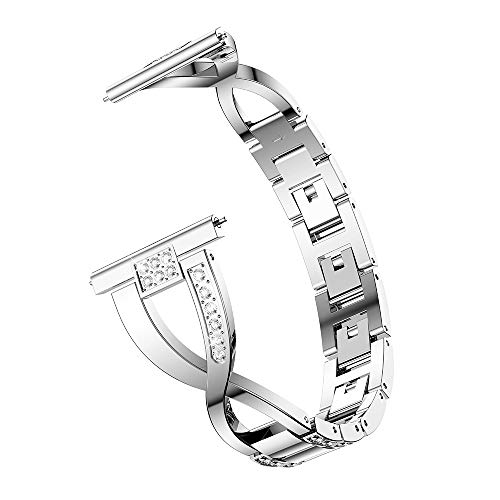 Orcbee  _Replacement Metal Crystal Watch Strap Wrist Band for Samsung Gear S2 Classic (Silver)