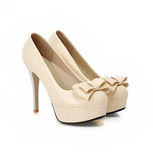 Plate-forme Bowknot Or Balamasa Femmes Imité Cuir Pompes-chaussures Beige
