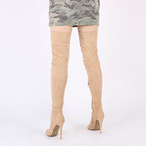Womens Zip Up Stiletto Heels Over The Knee Long Boots in Beige Faux Suede UK 3-8 iOVORz