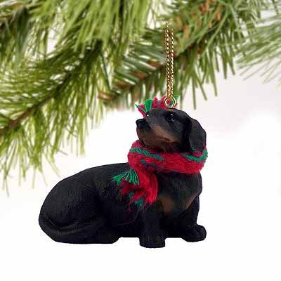 1 X Dachshund Miniature Dog Ornament - Black & Tan
