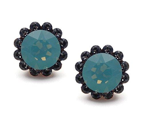 Catherine Popesco Pacific Opalescent and Dark Grey Swarovski Crystal Flower Goldtone Stud Post Earrings