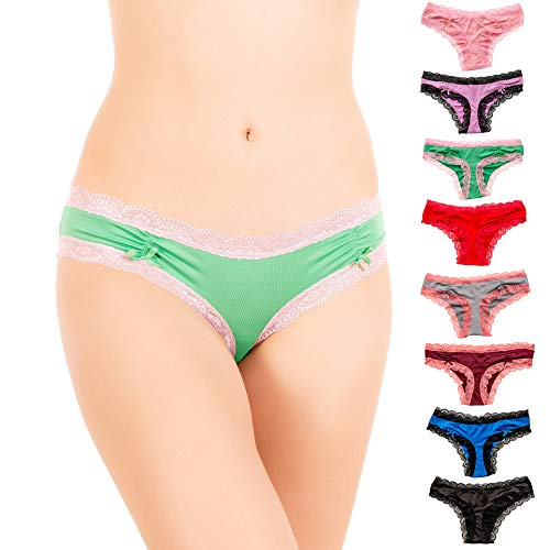 Alyce Intimates Womens Lace Trim Bikini Panty with Ruched Back, Pack of 8