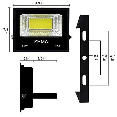ZHMA 2 Pack 60W Led Flood Light, Outdoor Spotlight with Plug, IP66 Waterproof Work Light, 5400lm Super Bright Security Lights Outdoor, Backyard, Garage, Playground, Basketball Court