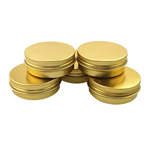 6PCS 40ml 1.4oz Round Gold Aluminium Nail Art Lip Balm Makeup Jar Can Bottle with Screw Lid DIY Cream Cosmetic Container Pot Tin Case Beauty (Acrylic Gold Jars)