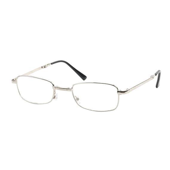 adb6ea4103 Deylaying Gafas de lectura Doblez Metal Marco Para Hombre Anti-vertigo  Lentes para leer Retro