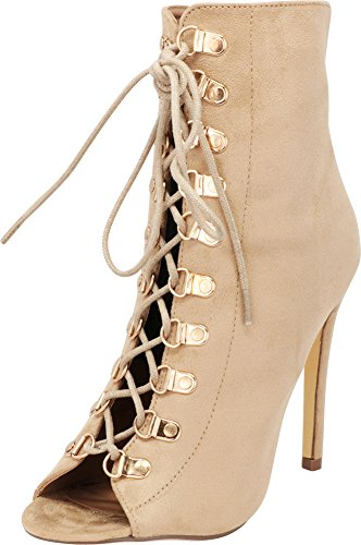Cambridge Select Women's Peep Toe Work Inspired 90s Corset Lace-up Stiletto High Heel Ankle Bootie,7 B(M) US,Natural IMSU