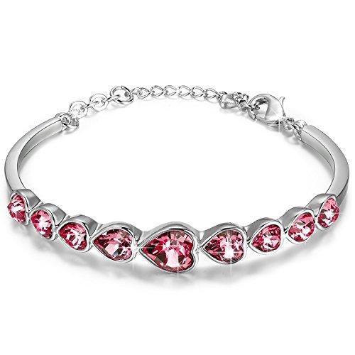 Heart Love Austrian Crystal (RARITYUS Fashion 18K Gold Plated Swarovski Crystal Love Heart Shape Bracelet Austrian Crystal Brace Lace Jewelry)