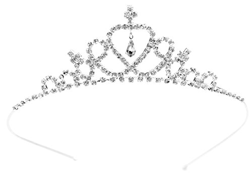 [Child Crystal Tiara Crown for Flower Girls, Bridesmaid, Princess Costume, First Communion] (Princess Birthday Girl Tiara)