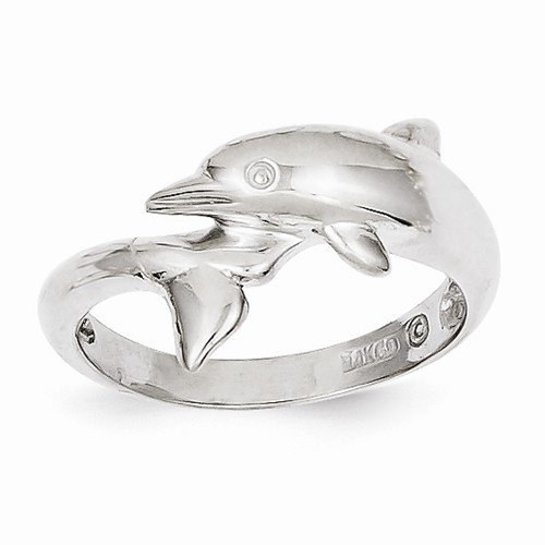 White Ring Dolphin Gold (Size - 5 - Solid 14k White Gold Dolphin Ring (3 to 13 mm))